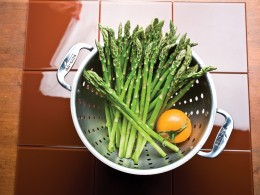 Fresh Asparagus In Colander