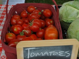 Fresh Tomatoes at Fruit Stand