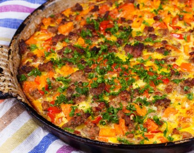 sausage and butternut squash frittata