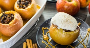 An classic, old-fashioned favorite: baked apples with raisins, honey and cinnamon.